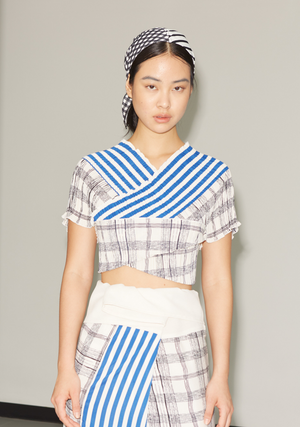 Pleated Wrap Top in Panel Blue Cream