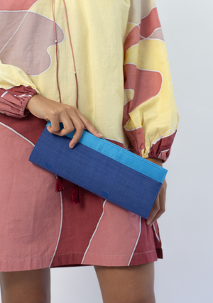 Tenun Long Clutch in Dark Blue
