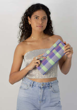 Tenun Long Clutch in Lilac and Green