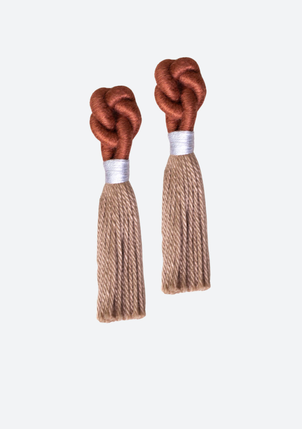 Cerak Knot Earrings in Rust and Wheat