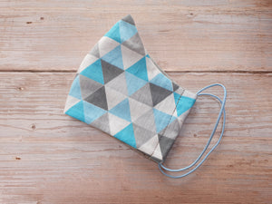 Handmade Reusable Face Mask Blue Triangles