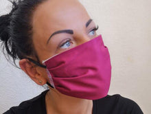 Load image into Gallery viewer, woman with cotton handmade reusable face mask face covering vine with a filter pocket
