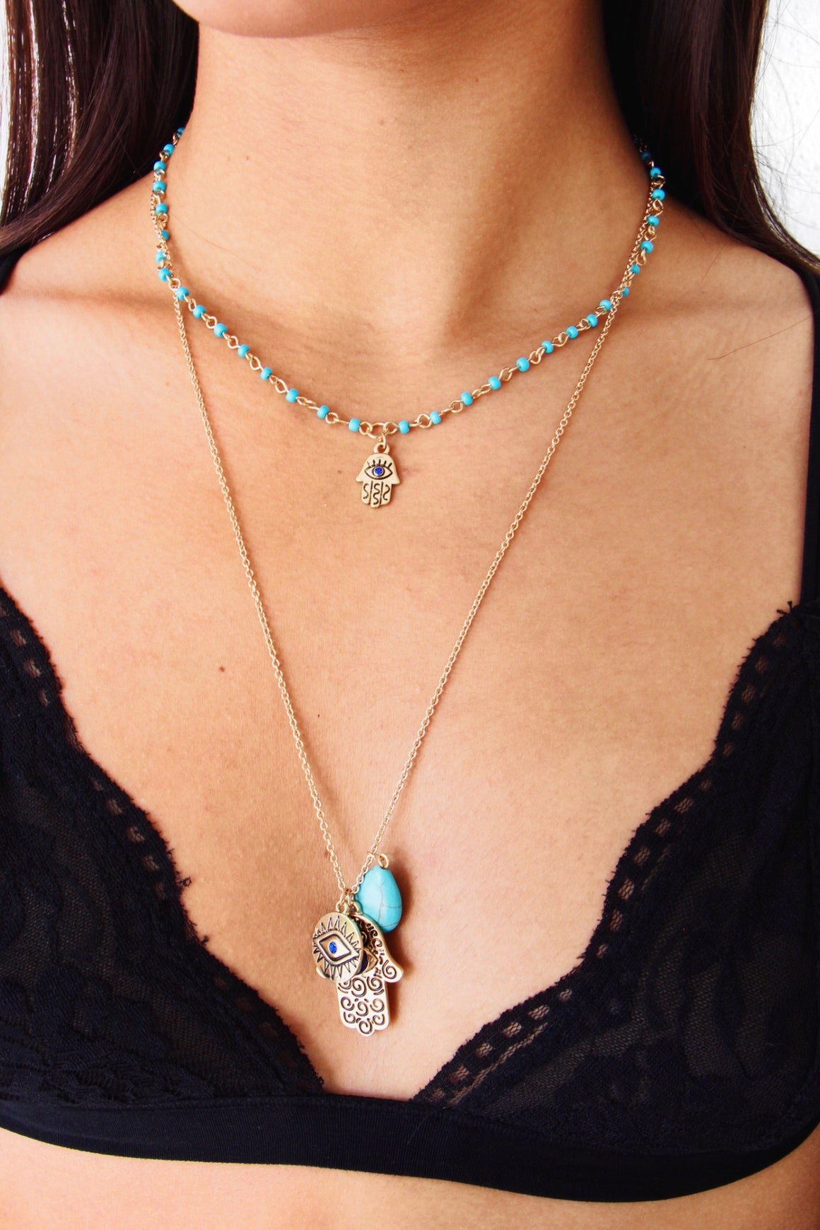 Hamsa Stone Layer Necklace