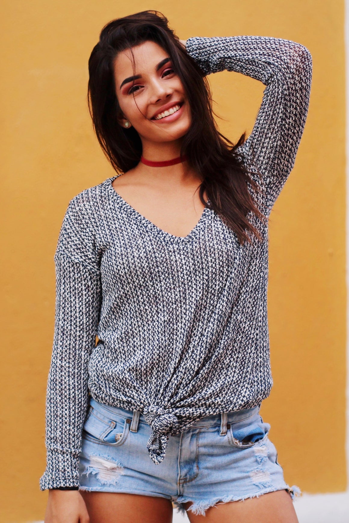 Acacia Knit V-Neck Sweater