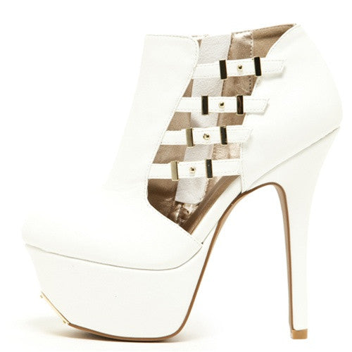 White Cut Out Platform Bootie