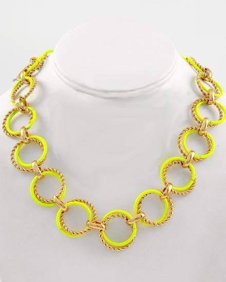 Neon Yellow Circle Necklace