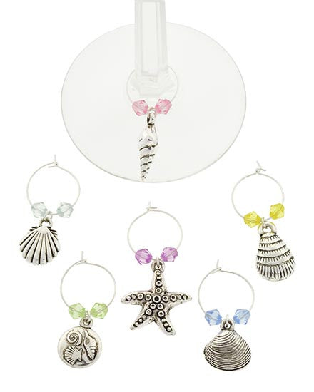 Sea Shell Wine Charms - Set of 6
