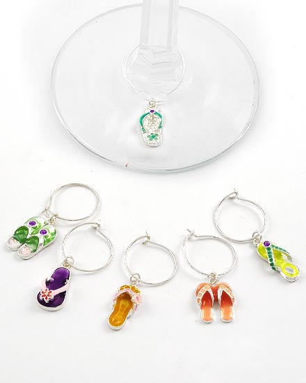 Flip Flop Wine Charms - Set of 6