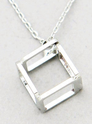 3-D Open Cube Pendant Necklace