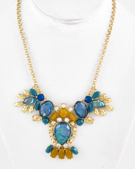 Gold, Blue & Mustard Mix Necklace