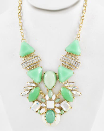 Green, Gold, White, Rhinestone, & Opal Necklace