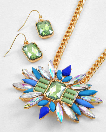 Emerald Surrounded by Blue, Green, & Rhinestone Stones Necklace