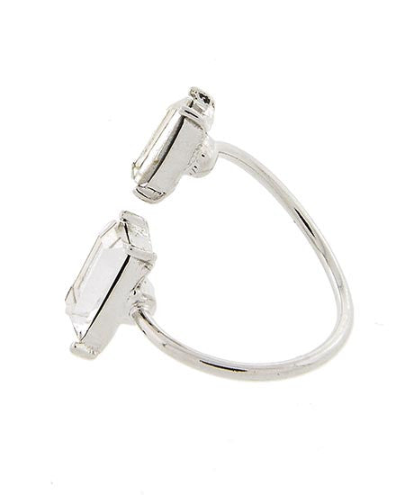 Double Baguette Silver Ring