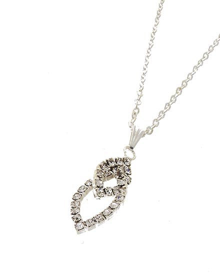 Intertwined Ellipse Faux Diamond Pendant Necklace in Silver