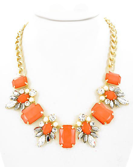 Orange Stone Necklace Accented with Rhinestones, Pearls and Black Glass Stones