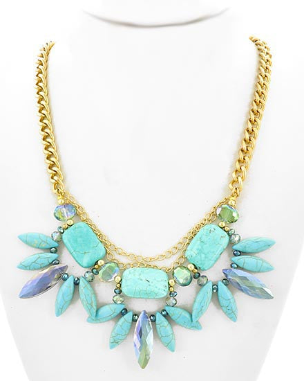 Gold, Turquoise, & Blue Glass Necklace