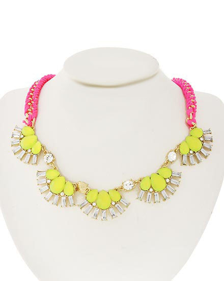 Neon Pink and Green Rhinestone Necklace