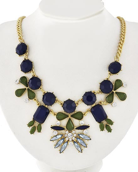 Navy and Olive Statement Necklace