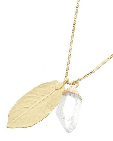 Matte Gold Leaf with Gemstone Necklace