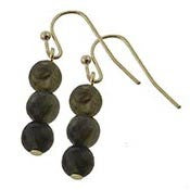 3 Bead Drop Earrings in Olive