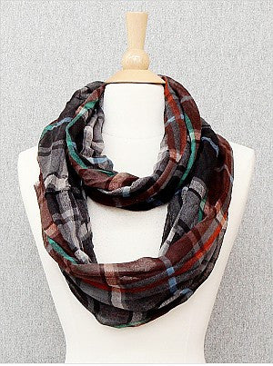 Charcoal Plaid Infinity Scarf
