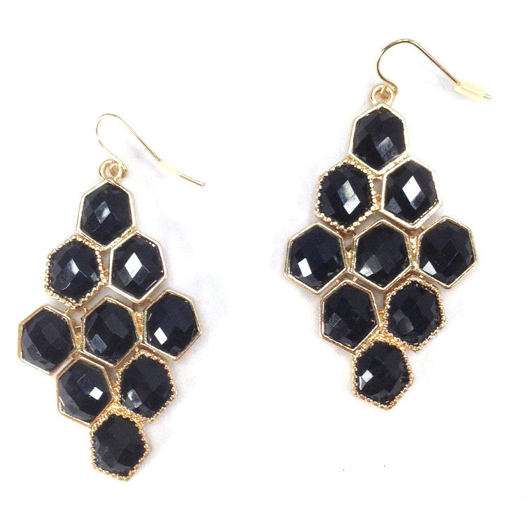 Black Hexagon Cascade Earrings