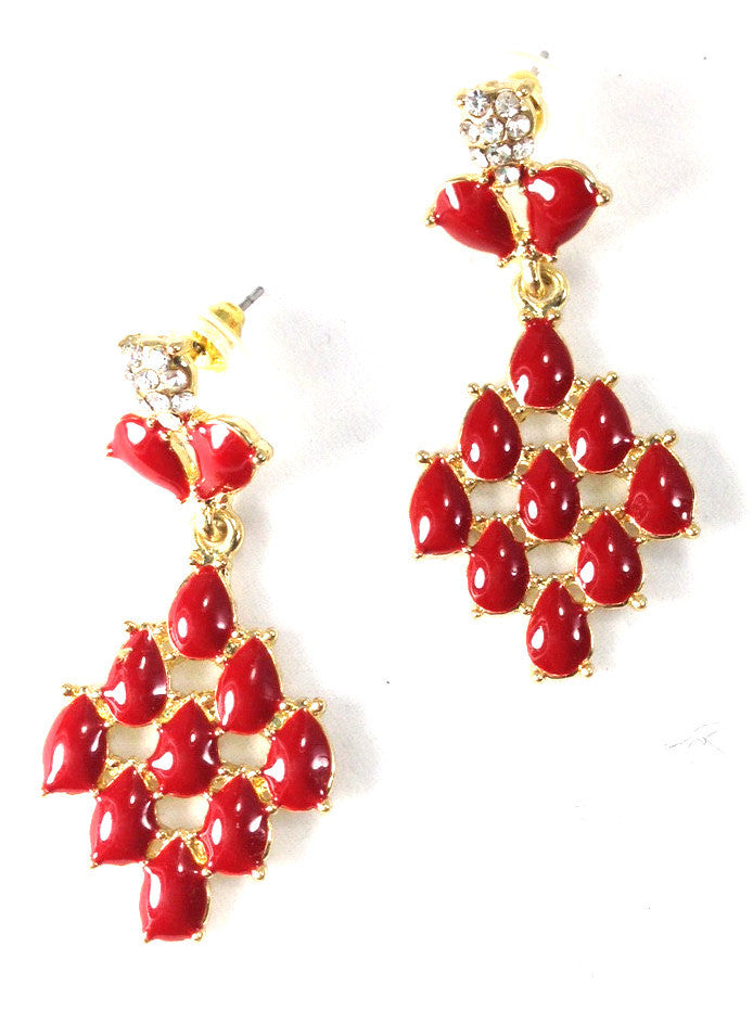 Red Tear Drop and Rhinestones Earrings