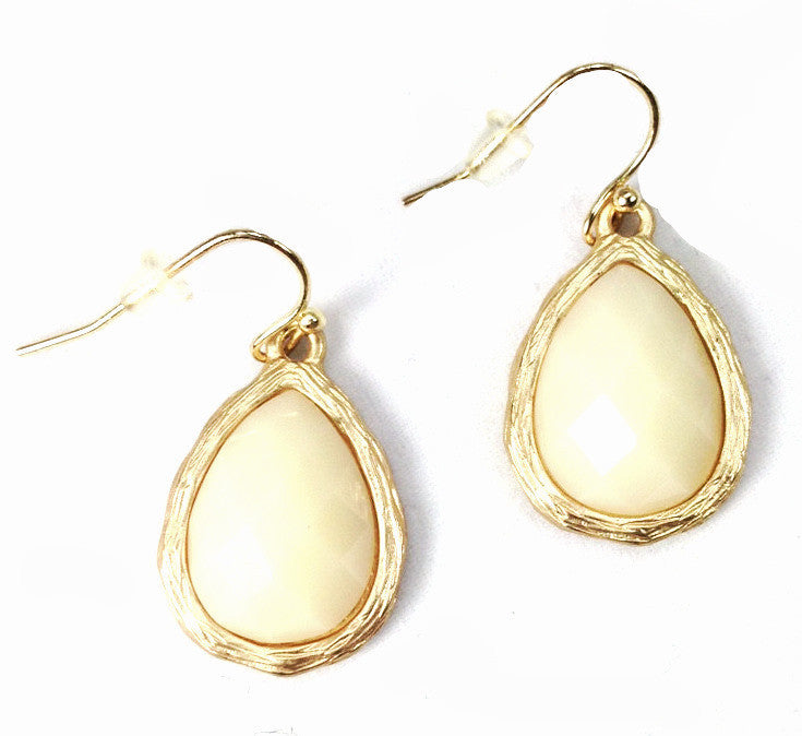 Cream Tear Drop Earrings