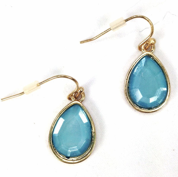 Mirrored Blue Tear Drop Earrings