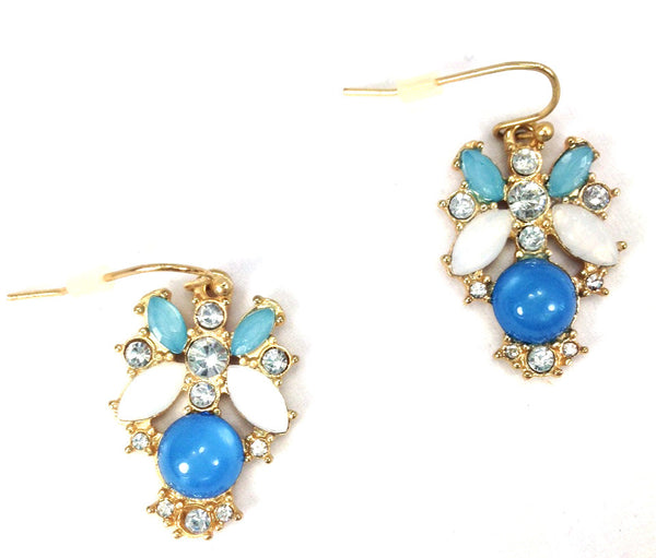 Blue Rhinestone Drop Earrings