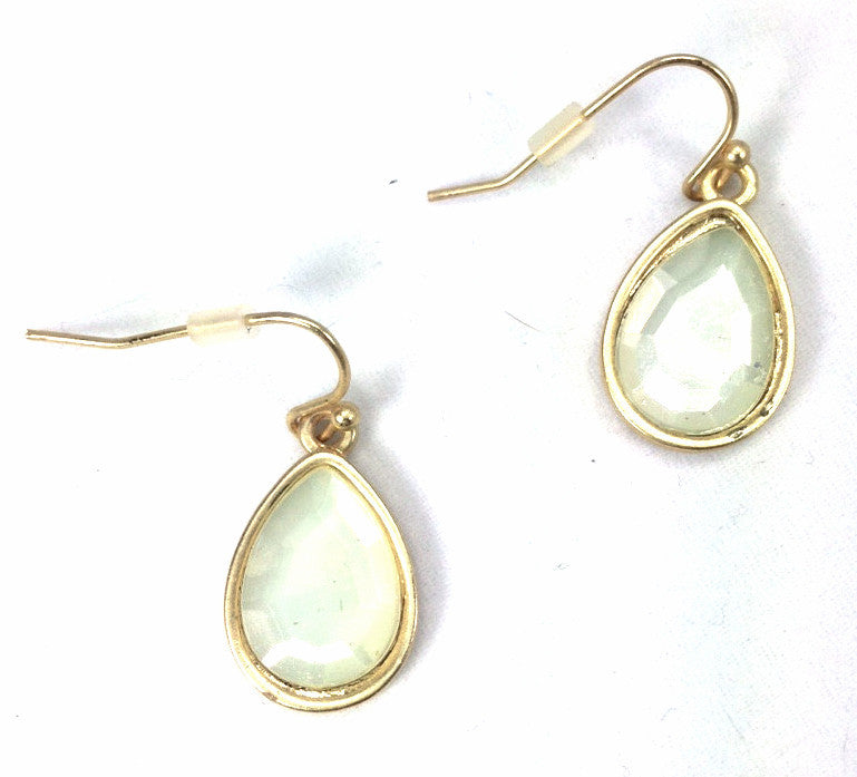 Mirrored Cream Tear Drop Earrings