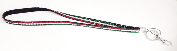 Red, White, & Green Rhinestone Lanyard