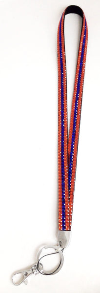 Blue & Orange Rhinestone Lanyard