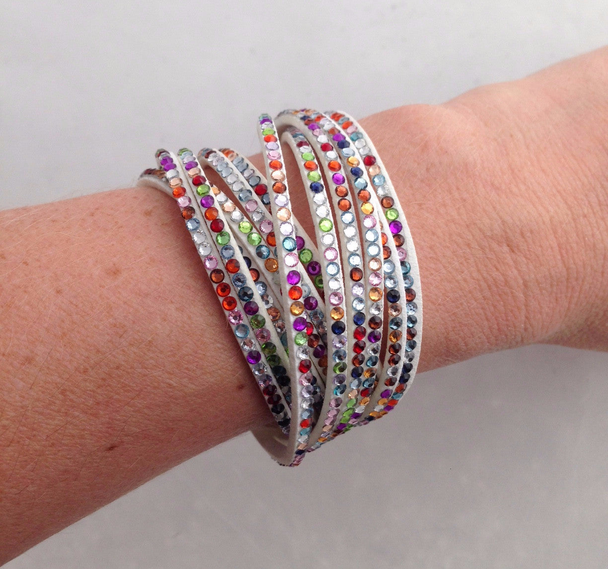 Wrap Bracelet - Multicolored Rhinestone Felt