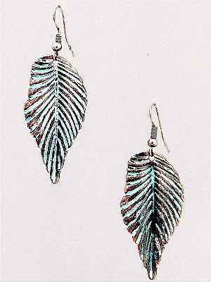 Aged Copper Leaf Earrings