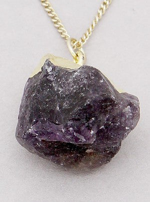 Amethyst Dipped in Gold Necklace