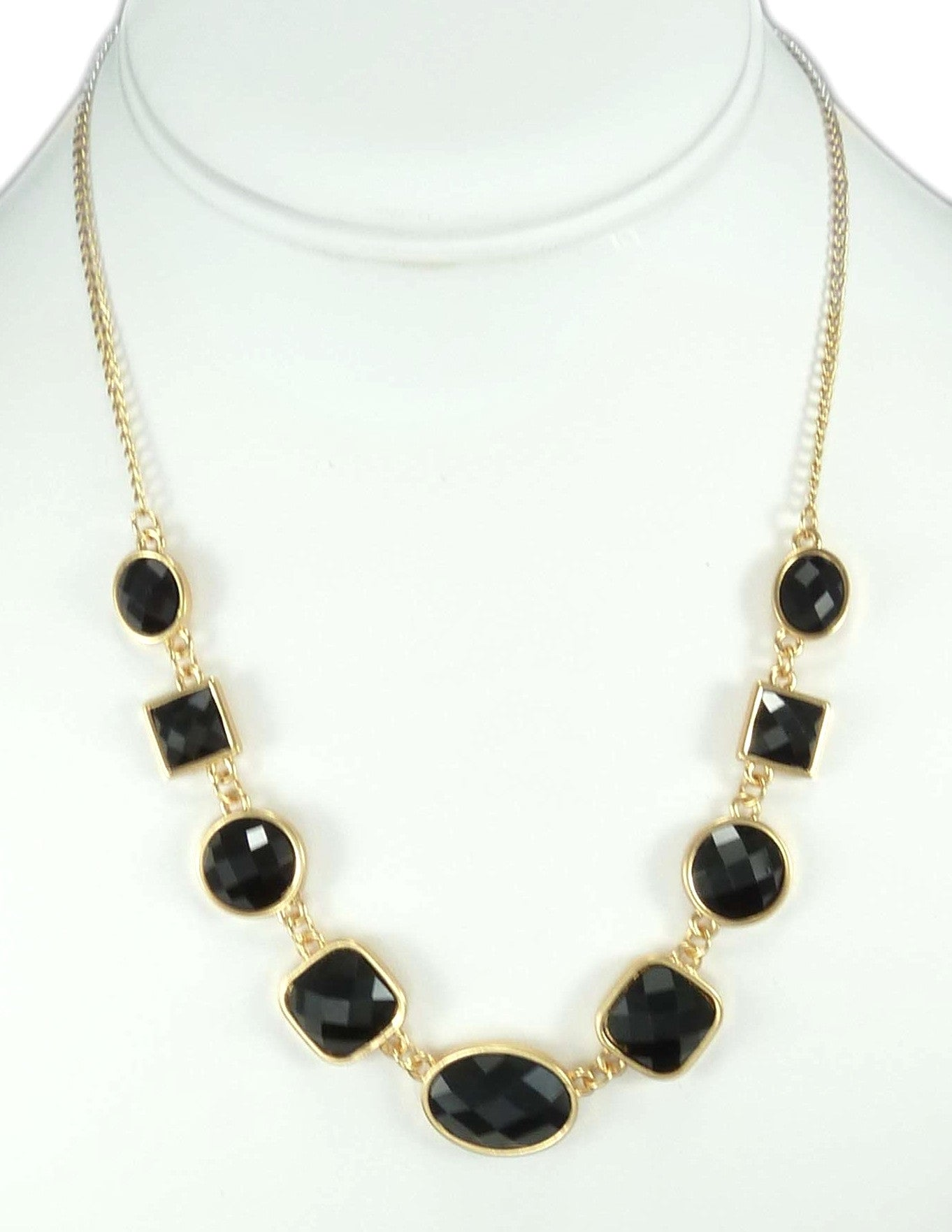 Black Circles & Squares Necklace