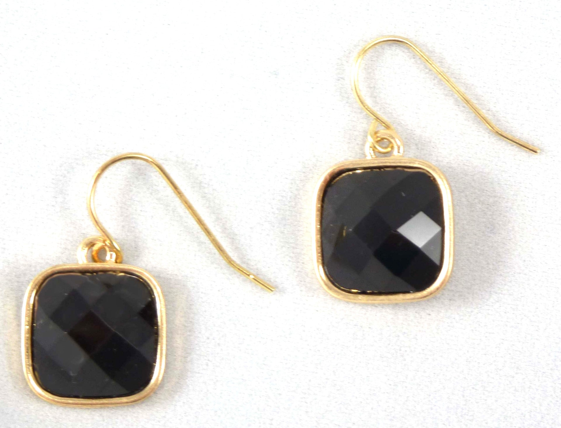 Black Square Dangle Earrings