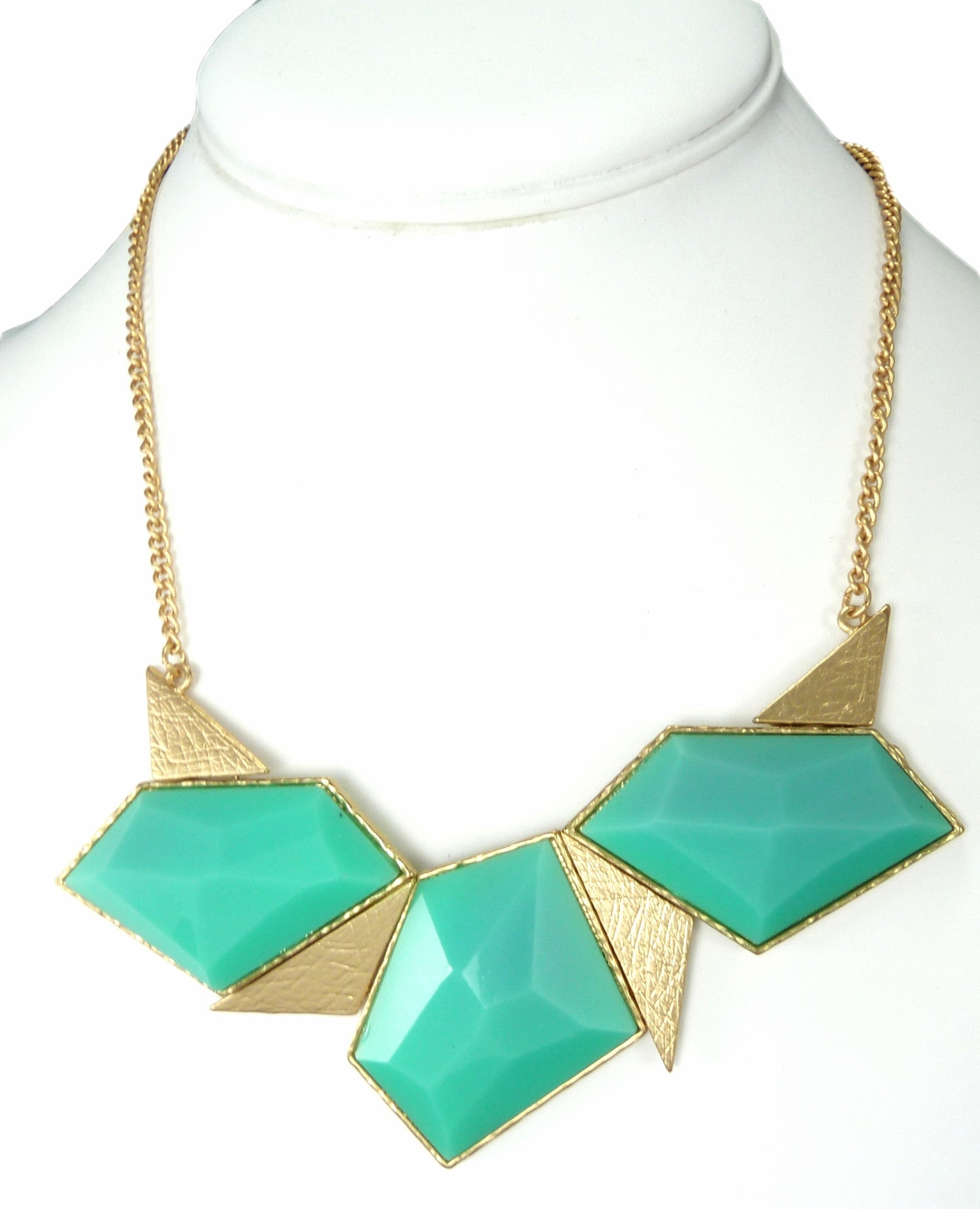 Green Art Deco Triangle Necklace from Vanett $15