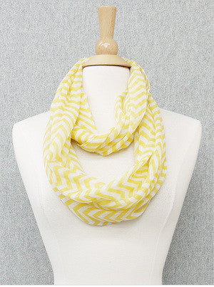 Yellow Chevron Infinity Scarf