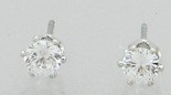 6 Prong Rhinestone Stud Earrings