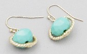 Mint Oval Beaded Orbit Earrings