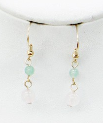 Pink and Jade Drop Earrings