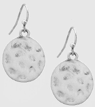 Silver Textured Round Earrings