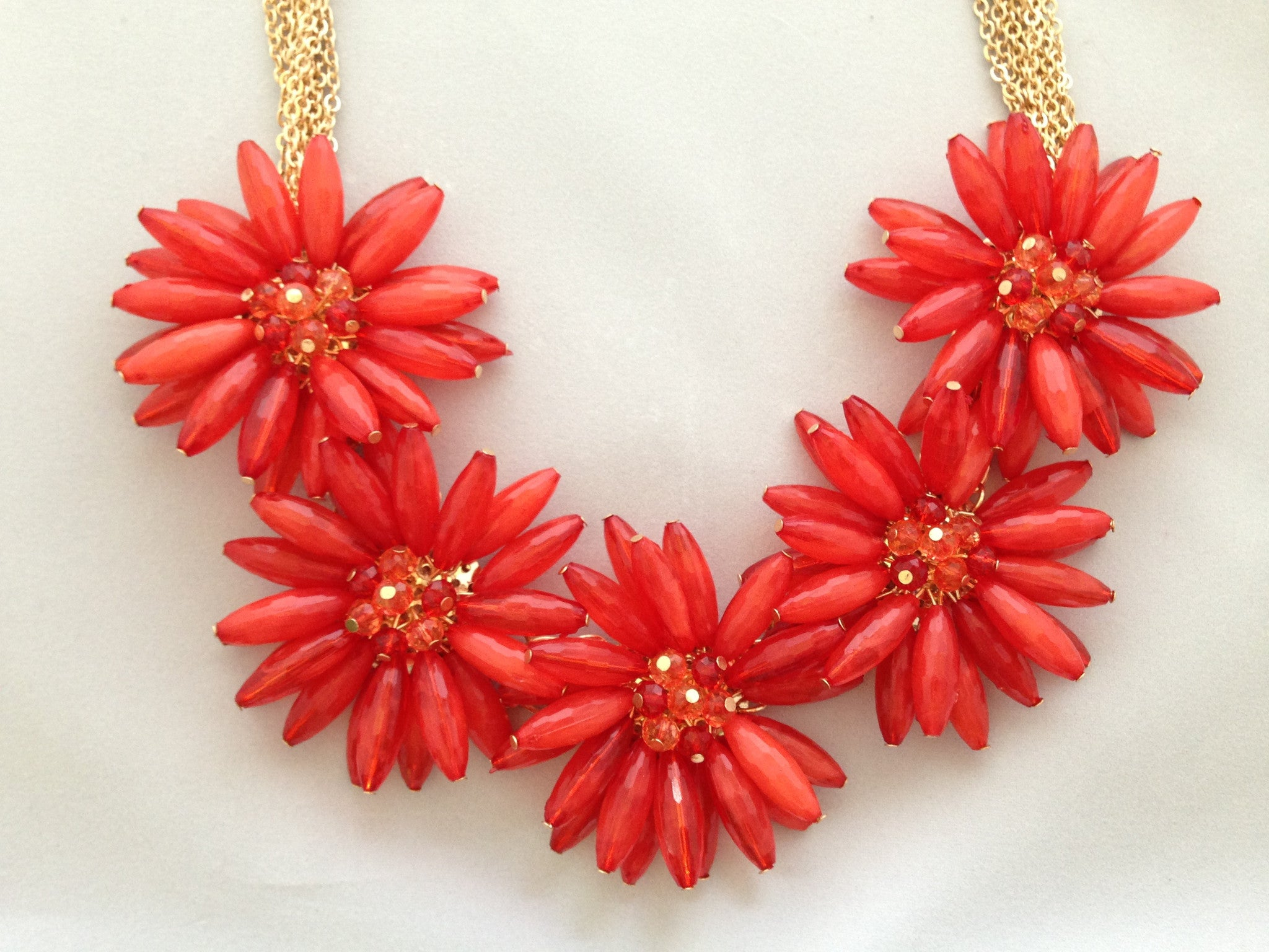 Flower Bead Necklace - Red