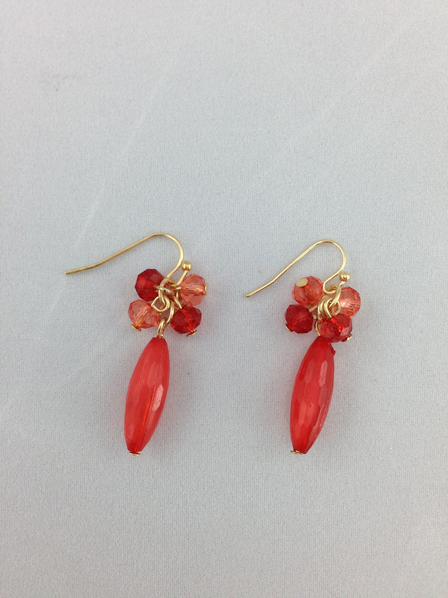 Dangly Earrings with 5 beads - Red