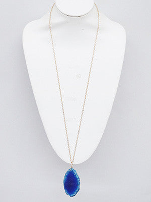 Blue Unfinished Gemstone Long Necklace