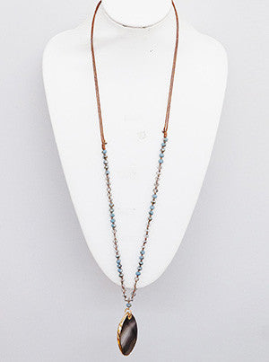 Beaded Blue Gemstone Long Necklace