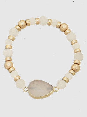 Agate and Gold Stretch Bracelet