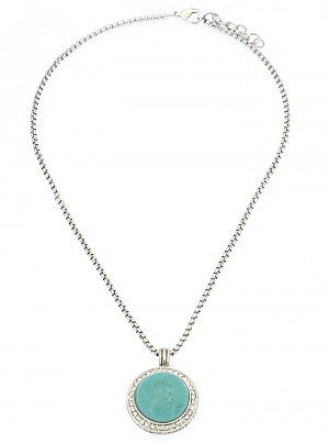 Round Turquoise Pendant Necklace